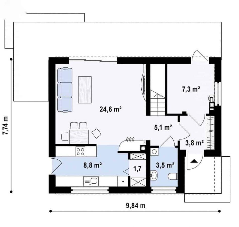 Casa mica cu mansarda 148mp parter