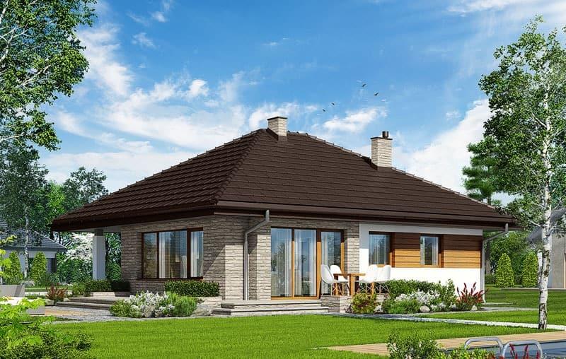 Proiect casa parter 2 Dormitoare si o baie 101mp v7