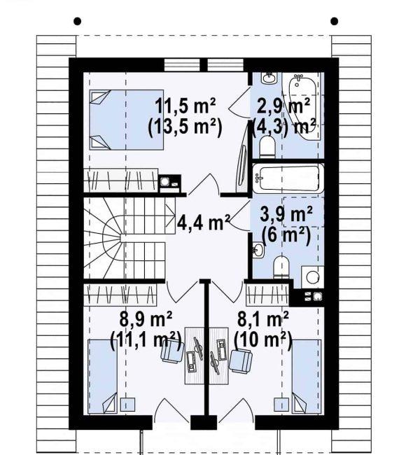 proiect parter si mansarda 3dormitoare 131mp Mansarda