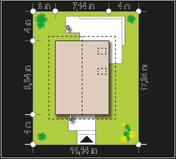 proiect parter si mansarda 3dormitoare 131mp incadrare parcela